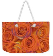 Multi Rose Electric Orange Weekender Tote Bag