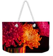 Multicolored Chrysanthemums In Paint Can On Chest Of Drawers Int Weekender Tote Bag