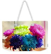 Multicolored Chrysanthemums In Paint Can On Window Sill Weekender Tote Bag