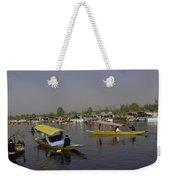 Multiple Number Of Shikaras On The Water Of The Dal Lake In Srinagar Weekender Tote Bag