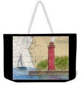 Muskegon Lighthouse Mi Nautical Chart Map Art Cathy Peek Weekender Tote Bag
