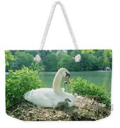 Mute Swan Parent And Chicks On Nest Weekender Tote Bag by Konrad Wothe