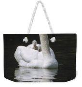 Mute Swan With Chicks On Back Weekender Tote Bag