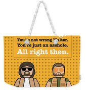 My The Big Lebowski Lego Dialogue Poster Weekender Tote Bag