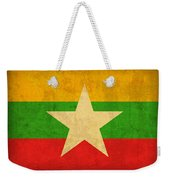 Myanmar Burma Flag Vintage Distressed Finish Weekender Tote Bag