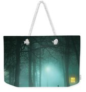 Mysterious Man In Fog With House And Window Light Weekender Tote Bag