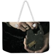 Mysterious Woman With Lock Weekender Tote Bag by Edward Fielding