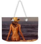 Naked Woman Sitting At The Beach On Sand Weekender Tote Bag