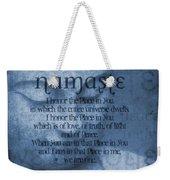 Namaste Blue Weekender Tote Bag