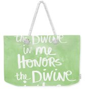 Namaste Green And White Weekender Tote Bag by Linda Woods