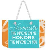 Namaste Watercolor Flowers Weekender Tote Bag