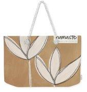 Namaste White Flowers Weekender Tote Bag