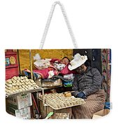 Nap Time For Child And Street Shopkeeper In Lhasa-tibet   Weekender Tote Bag