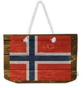 Norway National Flag On Wood Weekender Tote Bag