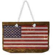 United States Of America National Flag On Wood Weekender Tote Bag