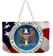 National Security Agency - N S A Emblem Emblem Over American Flag Weekender Tote Bag