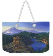 Native American Indian Maiden And Warrior Watching Bear Western Mountain Landscape Weekender Tote Bag