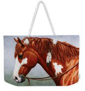 Native American Pinto Horse Weekender Tote Bag by Crista Forest