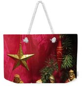 Nativity Scene In Red Weekender Tote Bag