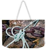 Nautical Lines And Rusty Chains Weekender Tote Bag