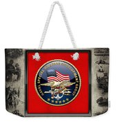 Naval Special Warfare Development Group - D E V G R U - Emblem Over Navy S E A Ls Collage Weekender Tote Bag