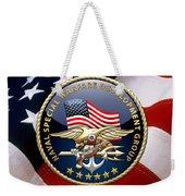 Naval Special Warfare Development Group - D E V G R U - Emblem Over U. S. Flag Weekender Tote Bag