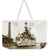 Navy Cruiser Uss New York Going Into Dry Dock San Francisco Circa 1903 Weekender Tote Bag
