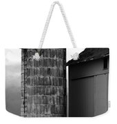 Near Infrared Old Michigan Barn With Silos Bw Usa Weekender Tote Bag