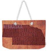 Nebraska Word Art State Map On Canvas Weekender Tote Bag by Design Turnpike