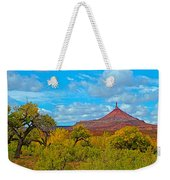 Needle-topped Butte From Highway 211 Going Into Needles District Of Canyonlands National Park-utah  Weekender Tote Bag