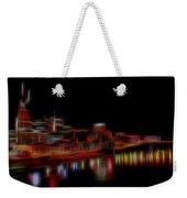 Neon Nashville Skyline At Night Weekender Tote Bag