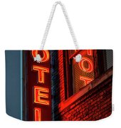 Neon Sign For Hotel In Texas Weekender Tote Bag