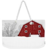 New England Red Barn In Winter Snow Storm Weekender Tote Bag