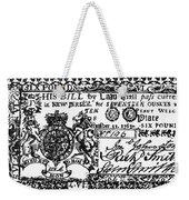 New Jersey Banknote, 1763 Weekender Tote Bag