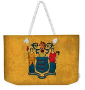 New Jersey State Flag Art On Worn Canvas Weekender Tote Bag
