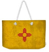 New Mexico State Flag Art On Worn Canvas Weekender Tote Bag