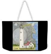 New Presque Isle Lighthouse Mi Nautical Chart Map Art Weekender Tote Bag