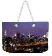 New York By Night Weekender Tote Bag