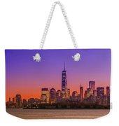 New York City Manhattan Midtown Panorama At Dusk With Skyscraper Weekender Tote Bag