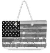 New York City On American Flag Black And White Weekender Tote Bag