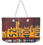 New York City Skyline License Plate Art 911 Twin Towers Statue Of Liberty Weekender Tote Bag