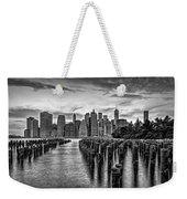 New York City Skyline Sunset Hues Bw Weekender Tote Bag