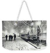 New York City - Winter - Snow At Night Weekender Tote Bag