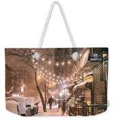 New York City - Winter Snow Scene - East Village Weekender Tote Bag by Vivienne Gucwa