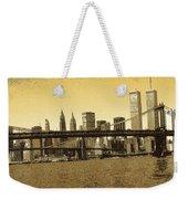 New York Downtown Manhattan Skyline - Yellow Panorama Weekender Tote Bag