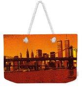 New York Downtown Manhattan Skyline Red Weekender Tote Bag
