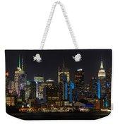 New York In Blue Weekender Tote Bag