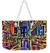 New York Lights In Rain Weekender Tote Bag