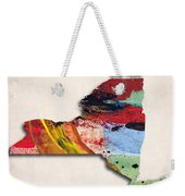 New York Map Art - Painted Map Of New York Weekender Tote Bag