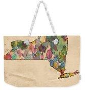 New York Map Vintage Watercolor Weekender Tote Bag